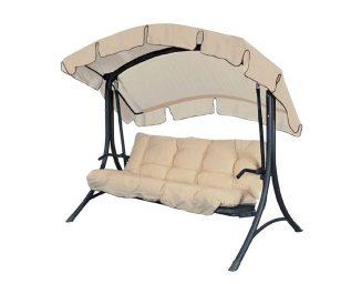 Dondolo tre posti da giardino con schienale reclinabile a letto. Goditi calde giornate estive in compagnia di amici e parenti.