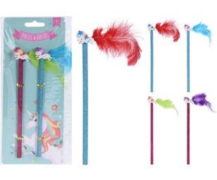 2 matite con gomma unicorno.