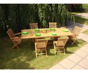 Set ind white lagoon1 teak con tavolo rettangolare estensibile cm 160/210x90 e 6 sedie pieghevoli.