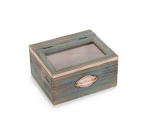 Scatola legno verde.