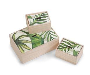 Scatola legno foglie greenery m.