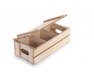 Scatola con divisori legno cm 24x11x8h.