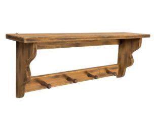 Appendio e mensola legno marrone cm 60x13x22h.