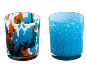 Bicchieri rosso blu maculato cm 8x9