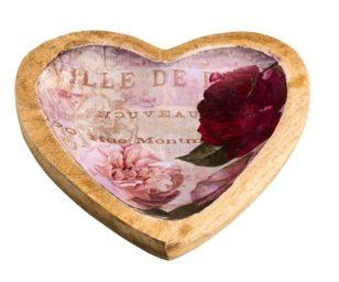 Ciotola cuore disegno floreale cm 15x2x16.