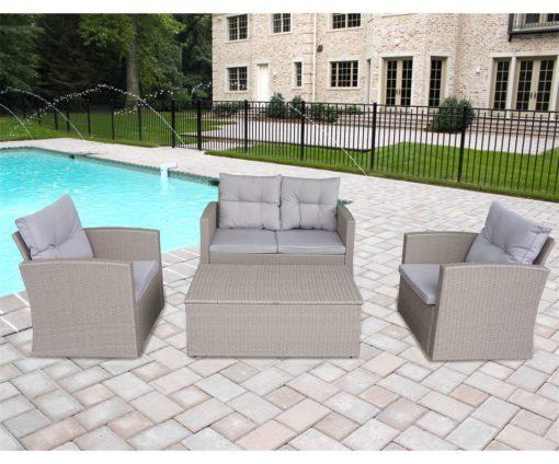 Set agata in rattan light grey con cuscini: divano 2 posti + 2 poltrone  + 1 tavolino contenitore.