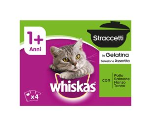 Whiskas straccetti junior 4x85 g assortito.