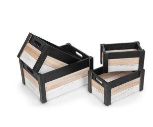 Cassetta legno nero naturale e bianco l.