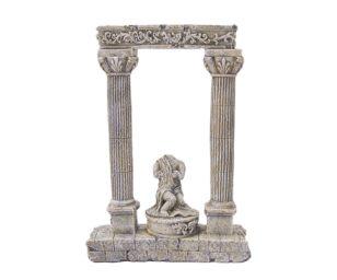 Mantovani decorazione colonne chiare con statua.