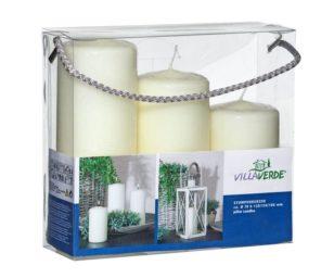 Confezione 3 candele mocolo bianco cm 6