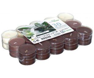 30 candele tealight in coppa trasparente vaniglia.
