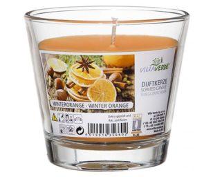 Bicchiere in vetro con candela profumata cm 9x8 arancia selvaggia.
