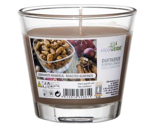 Bicchiere in vetro con candela profumata cm 9x8 mandorle grigliate.
