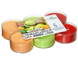 Confezione 6 candele tealight profumate tropical mango.
