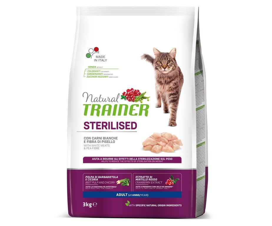 Trainer natural cat sterilized white meat 3 kg.