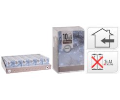 10 led batteria bianco filo trasparente m 1+0