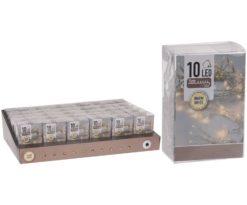 10 led batteria bianco caldo filo trasparente m 1+0