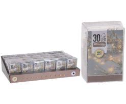 30 led batteria bianco caldo filo trasparente m 3+0