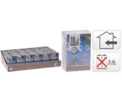 10 led batteria multicolor filo trasparente m 1+0