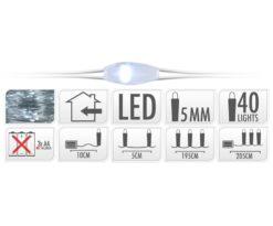 40 microled batteria bianco filo argento