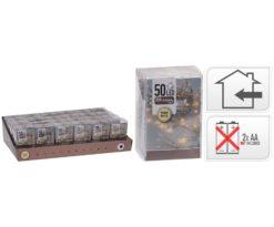 50 led batteria bianco caldo filo trasparente m 5+0