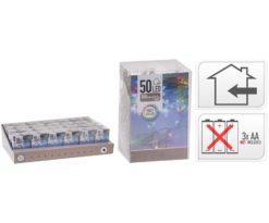 50 led batteria multicolor filo trasparente m 5+0