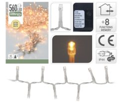 560 led bianco caldo cavo trasparente gioco luce - d.Led 2 cm - m 11+3.