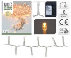 1200 led bianco caldo cavo trasparente gioco luce - d.Led 2 cm - m 24+3.