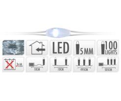 Microled 100 bianco freddo filo argento a batteria - cm 495+10.
