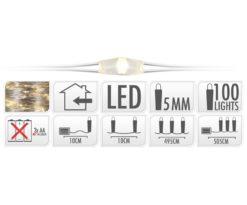 Microled 80 bianco caldo filo argento a batteria cm 495+10.