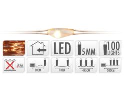 100 microled batteria extra bianco caldo filo rame