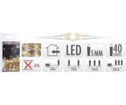 40 microled batteria bianco caldo filo argento