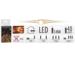40 microled batteria extra bianco caldo filo rame