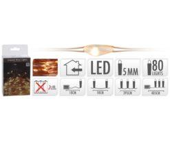 80 micro led batteria extra bianco caldo filo rame