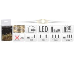 80 microled batteria bianco caldo filo argento