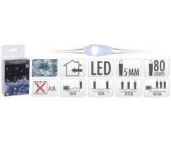 80 microled batteria bianco filo argento