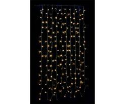 Tenda led 200 led luce calda giochi luce cm 100x200 filo trasparente.