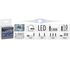 Microled 10 batteria bianco - filo argento 90 cm + 10 cm - batterie incluse.