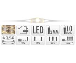 Microled 10 batteria bianco caldo - filo argento cm 90+10 - batterie incluse.