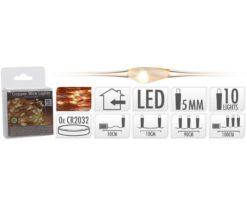 Microled 10 batteria extra bianco caldo - filo rame cm 90+10 - batterie incluse.