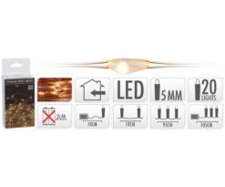 Microled 20 batteria extra bianco caldo - filo rame cm 95+10.