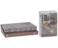 20 led batteria bianco caldo filo trasparente - interno - m 2+0