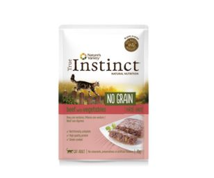 Nature's variety instinct cat no grain pouch adult manzo e pate 70 g.