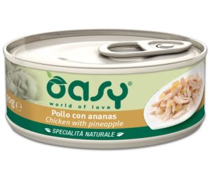 Oasy wet cat-pollo con ananas lattina 70 g.