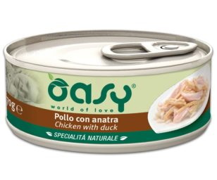 Oasy wet cat-pollo con anatra lattina 70 g.