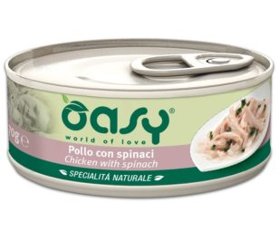 Oasy wet cat-pollo con spinaci lattina 70 g.