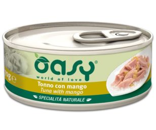 Oasy wet cat-tonno con mango lattina 70 g.