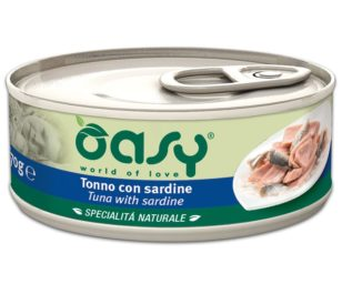 Oasy wet cat-tonno con sardine lattina 70 g.