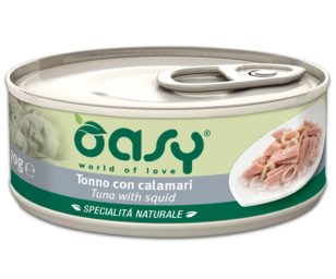 Oasy wet cat-tonno con calamari lattina 70 g.