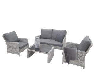 Set da patio otranto in wicker con cuscini: divano 2 posti + 2 poltrone +1 tavolino cm 97x60x43.